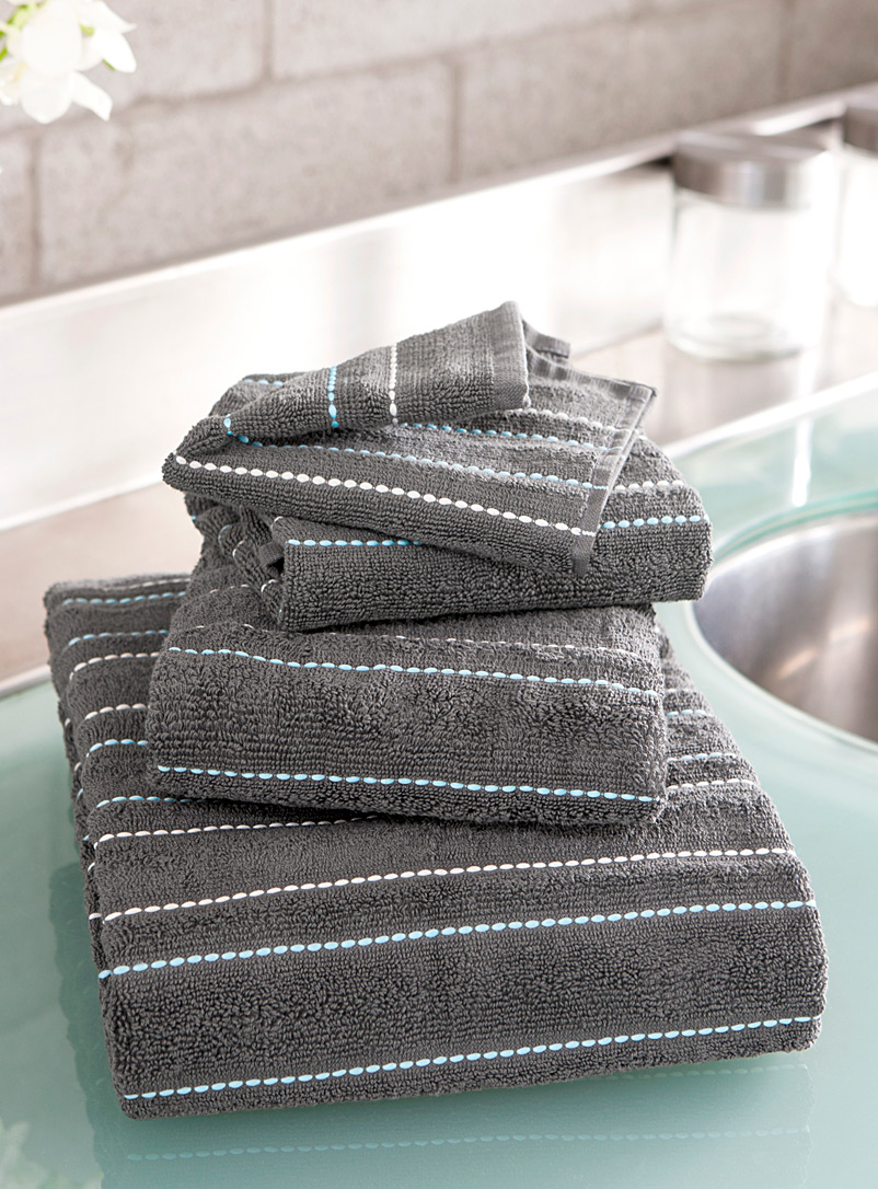 Simons Maison Dark Grey Embroidered turquoise thread towels