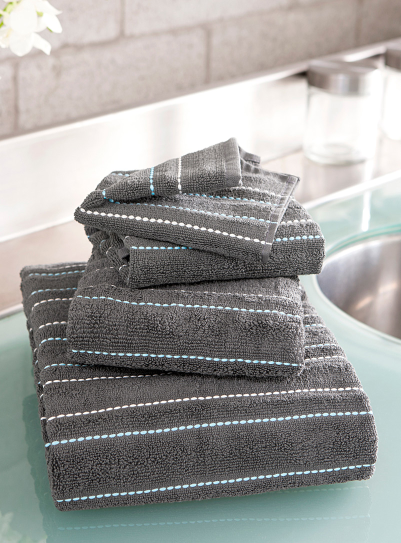 Embroidered turquoise thread towels