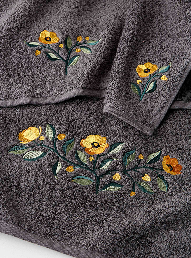 Buttercup embroidered towels - Jacquards & Embroidery - Dark Grey