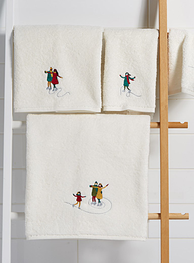 Embroidered skater towels