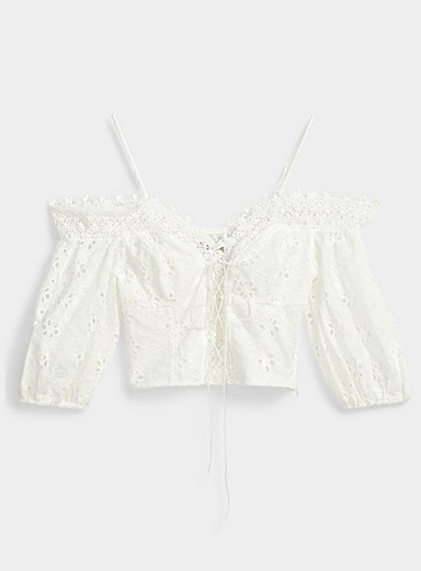 Icône White Broderie anglaise laced top for women