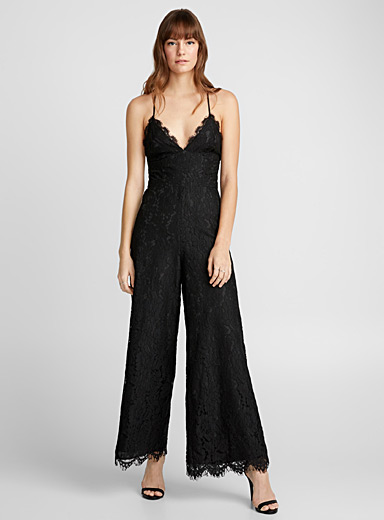 Laced-back lace jumpsuit