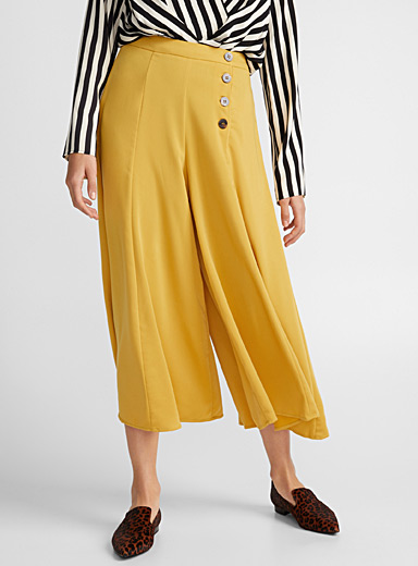 Golden yellow buttoned culottes