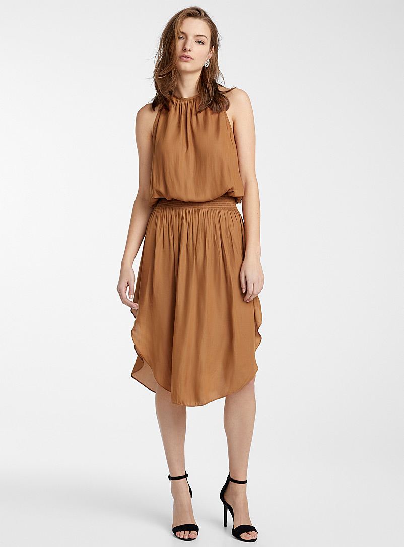 mocha-ruched-waist-dress