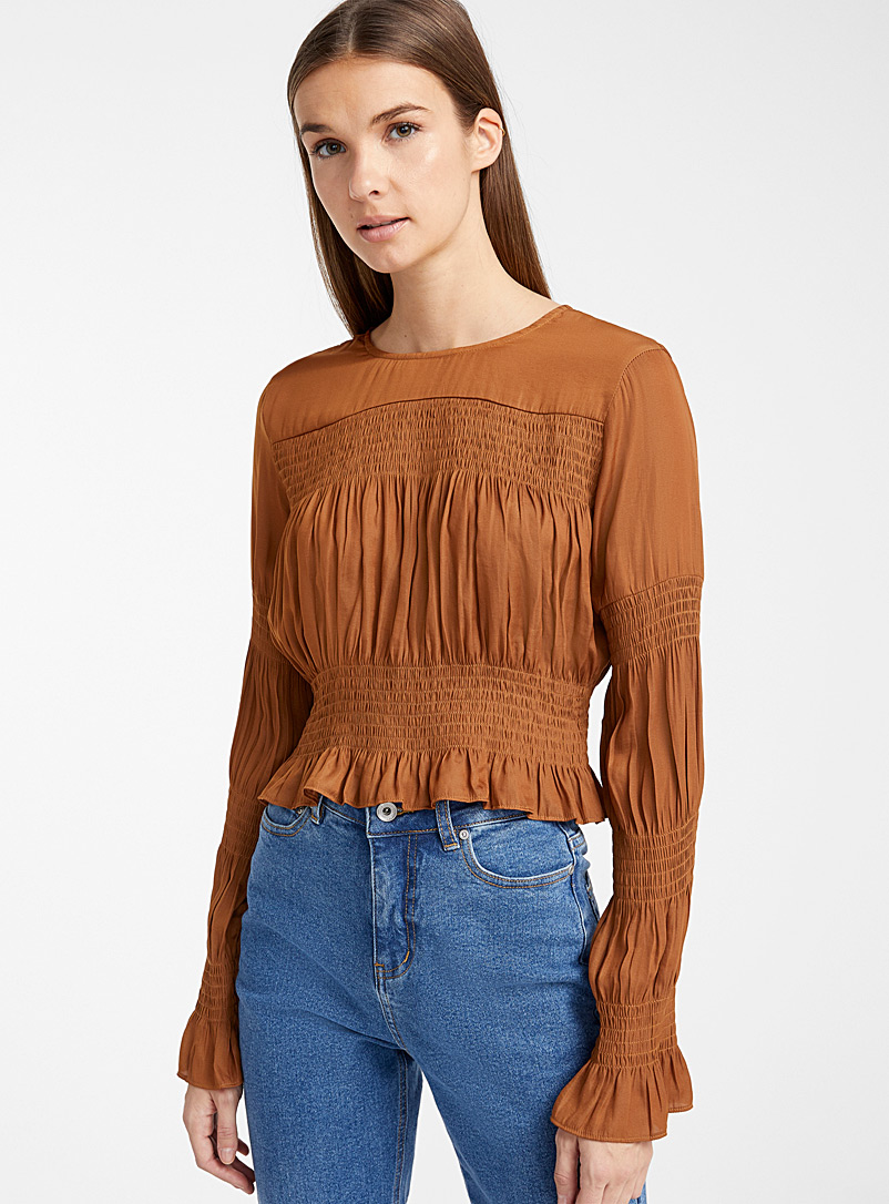Cinnamon satin ruched blouse - Crop Tops - Amber Bronze