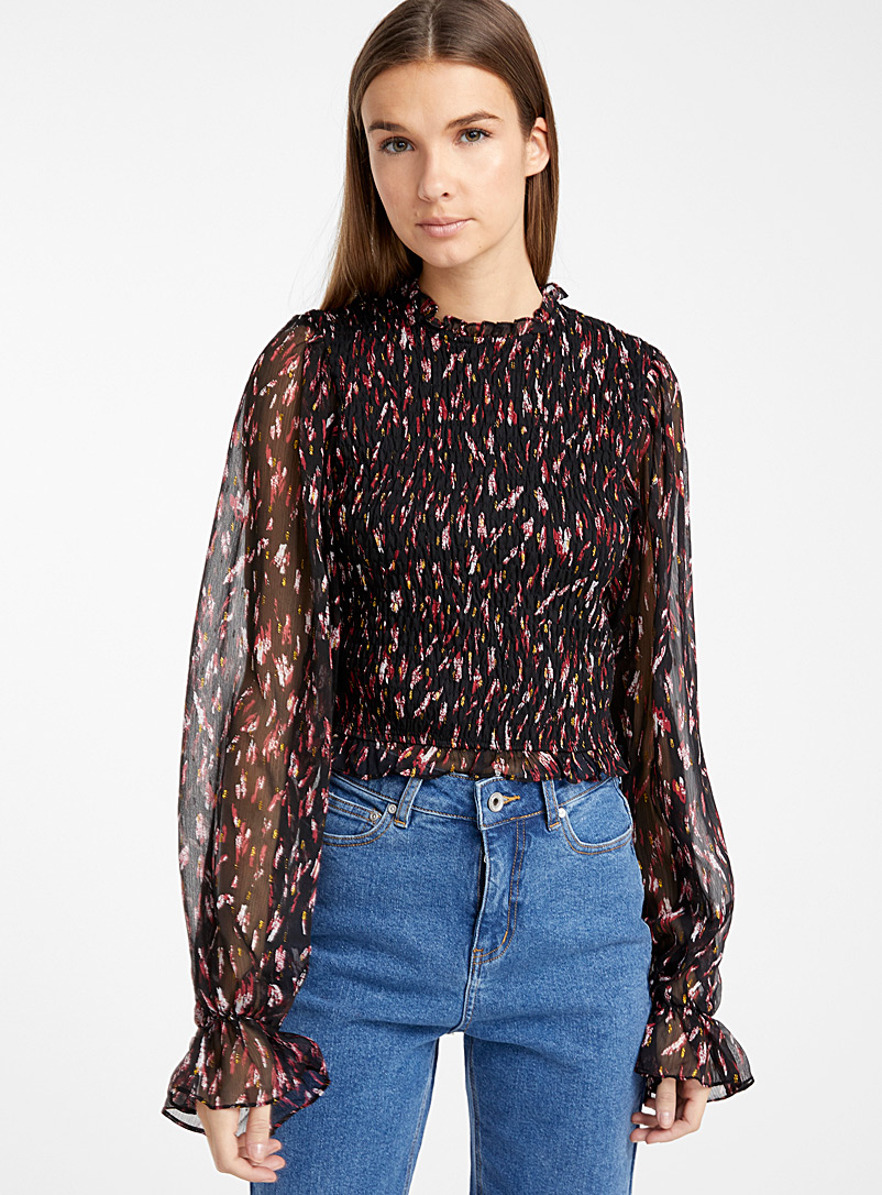 chic-shiny-ruched-blouse