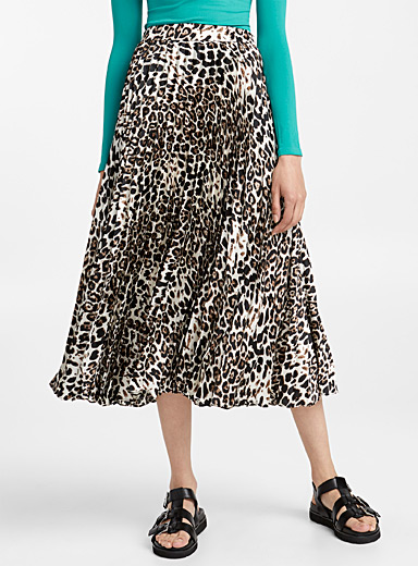 Leopard accordion skirt