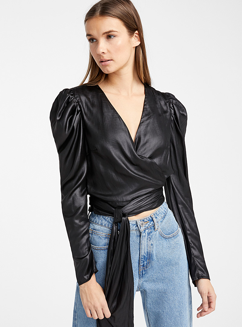 Crossover satiny blouse - Blouses - Black