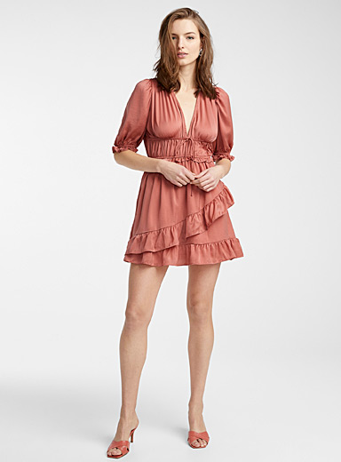 Pink ruffle-hem dress