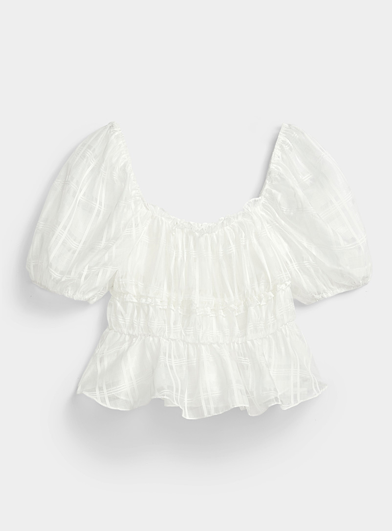 Ic?ne White Sheer check blouse for women