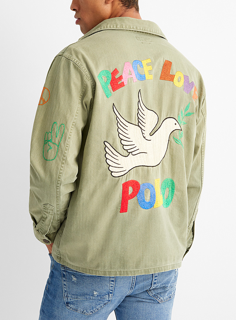 Polo Ralph Lauren Mossy Green Embroidered dove utility overshirt for men