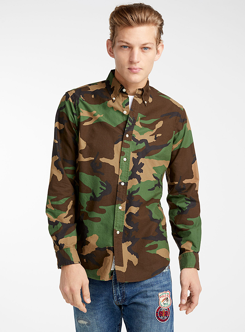 Camouflage Oxford shirt  Modern fit - Long sleeves - Green