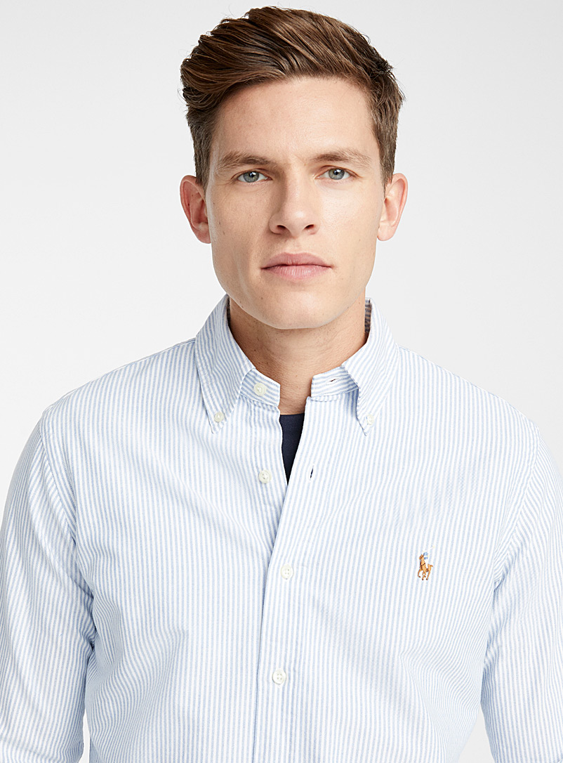 Polo oxford shirt  Modern fit - Long sleeves - Patterned Blue