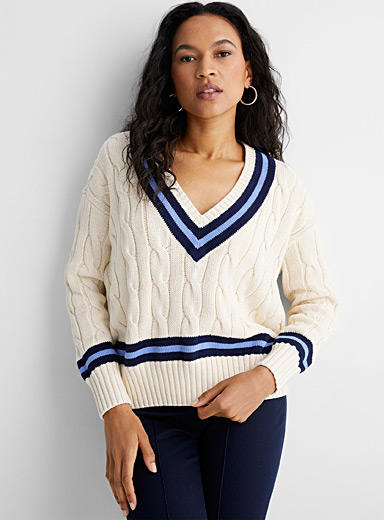 Le pull de cricket bordures accent