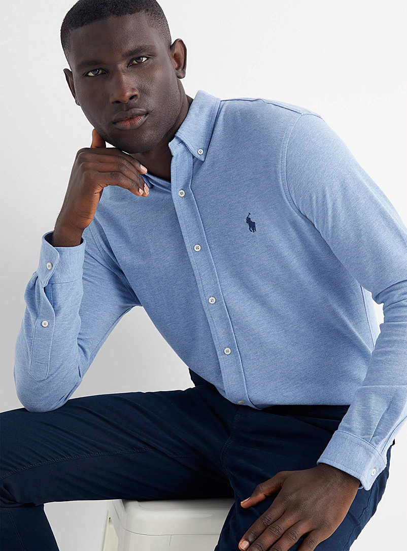 Polo Ralph Lauren Baby Blue Iconic piqué jersey shirt Semi-tailored fit for men