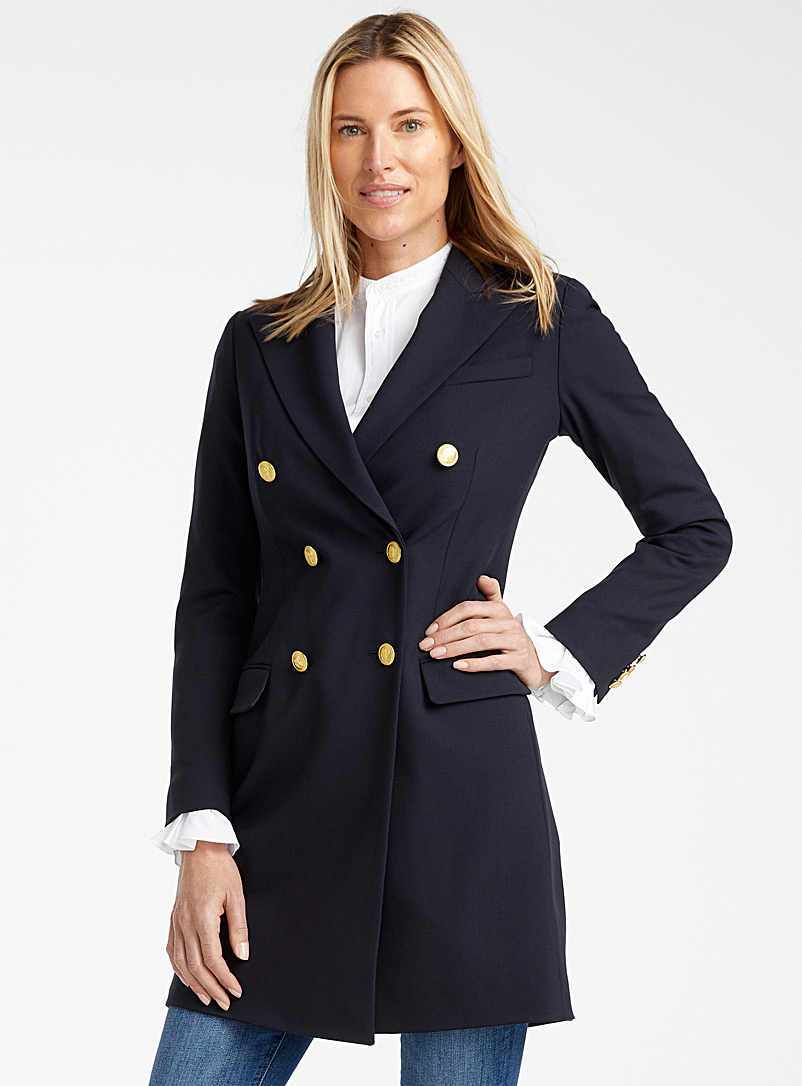 Polo Ralph Lauren Marine Blue Gold button wool blazer for women