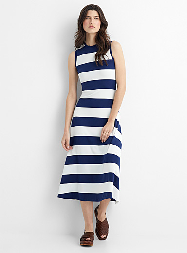 Block stripe jersey maxi dress