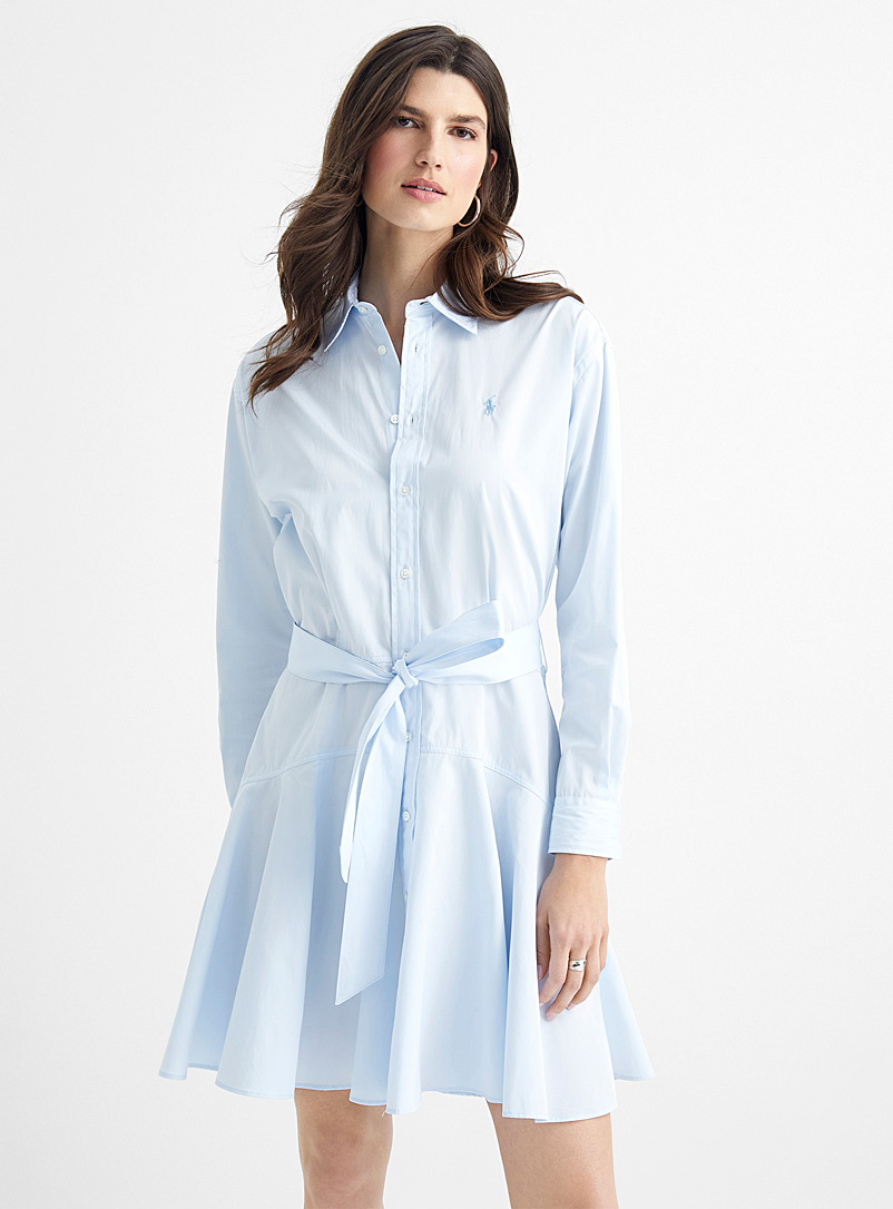 Polo Ralph Lauren Baby Blue Tie-belt shirtdress for women