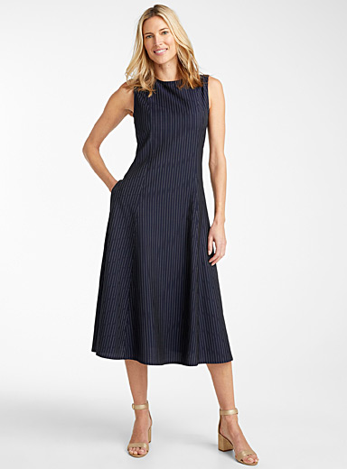 Banker stripe midi dress