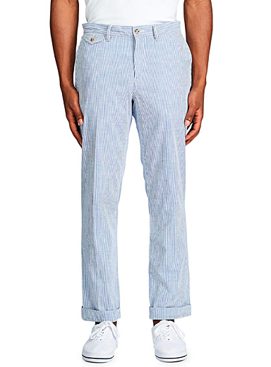 Chambray stripe seersucker pant  Straight fit