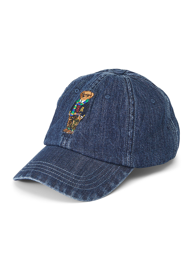 Polo Ralph Lauren Blue Preppy teddy bear denim cap for men