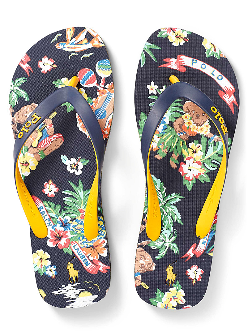 Polo Ralph Lauren Marine Blue Hawaiian teddy bear flip-flops Men for men