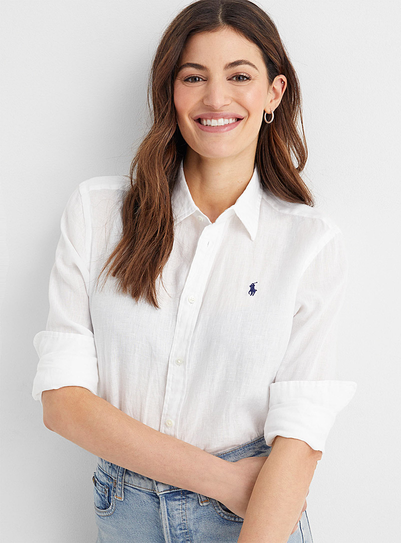 Polo Ralph Lauren White Logo white linen shirt for women