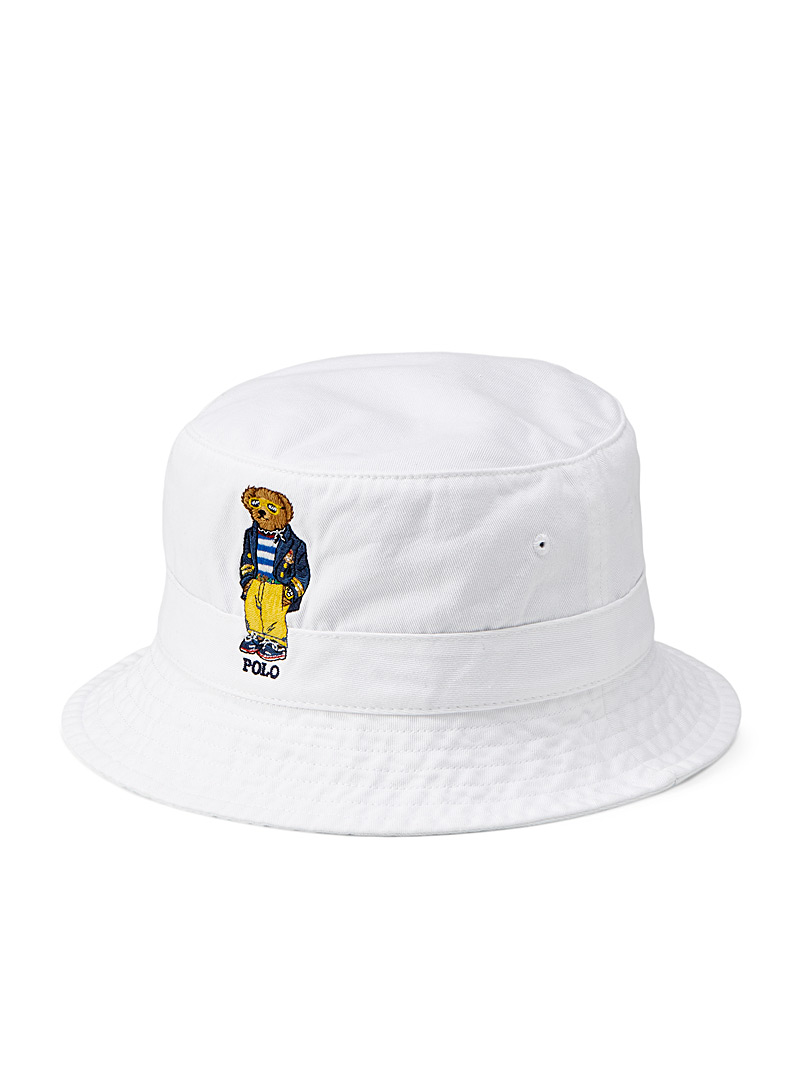 Polo Ralph Lauren White Urban teddy bear bucket hat for men