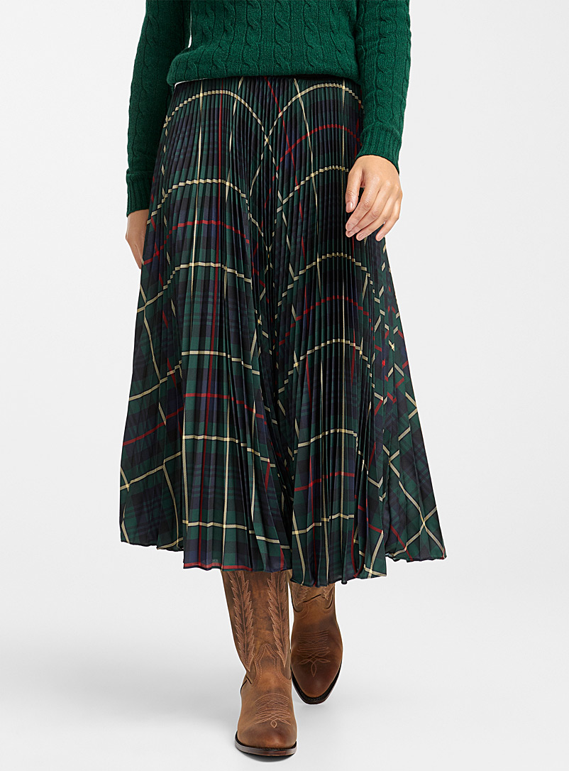 Pleated tartan skirt - Collections - Mossy Green