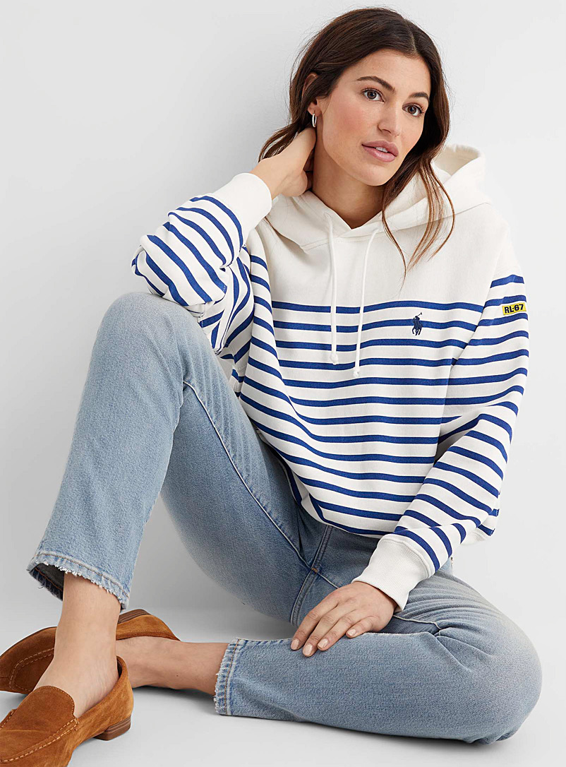 Polo Ralph Lauren Patterned White Horizontal stripe hooded sweatshirt for women