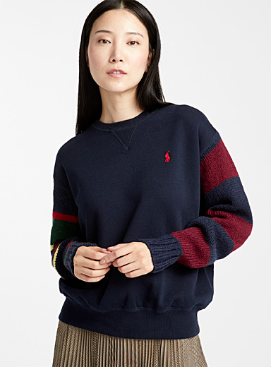 Le sweat manches tricot rayées