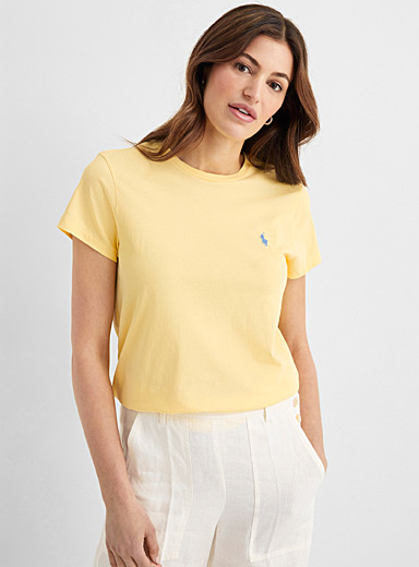 Embroidered logo yellow tee