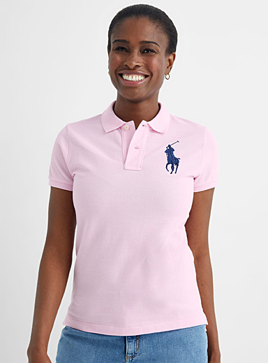 Accent embroidery pink polo