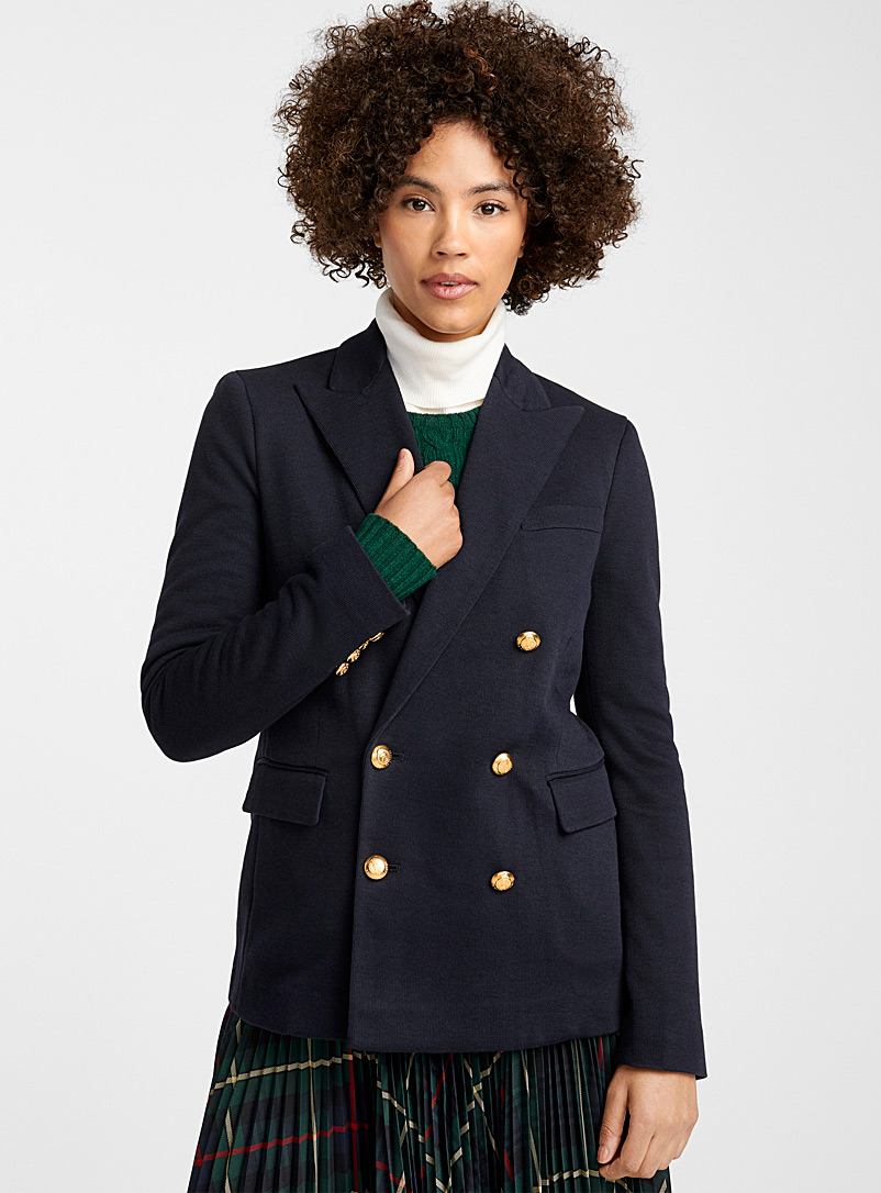Gold button preppy jacket - Collections - Marine Blue