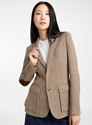 Suede-elbow herringbone jacket