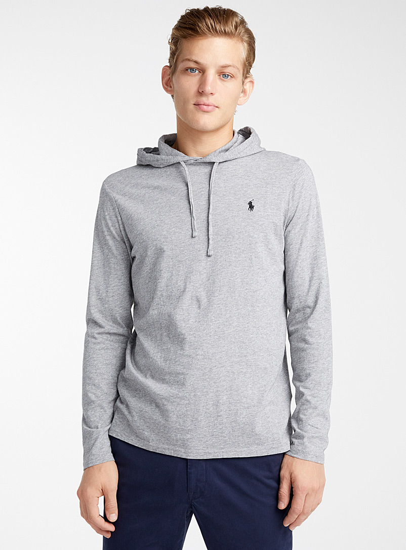 Hooded T-shirt - Long sleeves - Grey