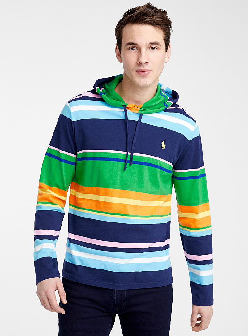 Polo Ralph Lauren Blue Deckchair stripe hooded T-shirt for men