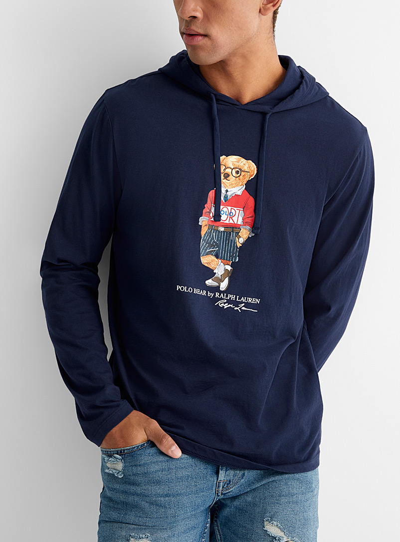 Preppy teddy bear hooded T-shirt