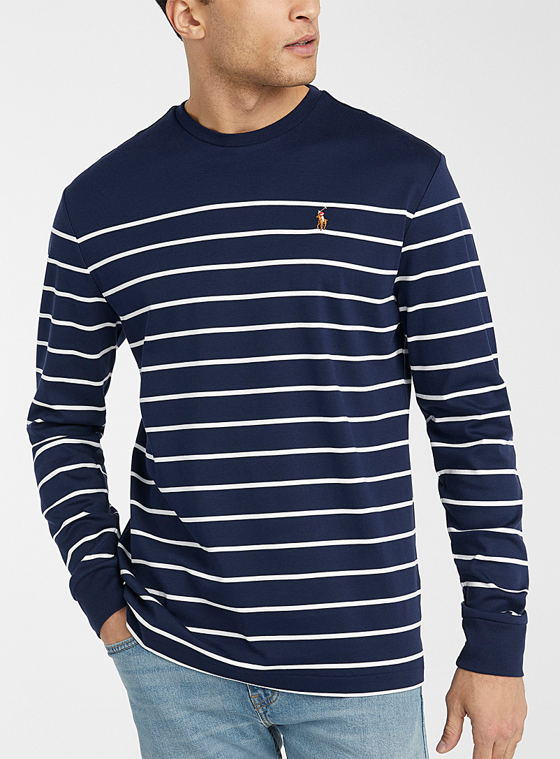 Polo Ralph Lauren Marine Blue Embroidered logo striped long sleeve T-shirt for men
