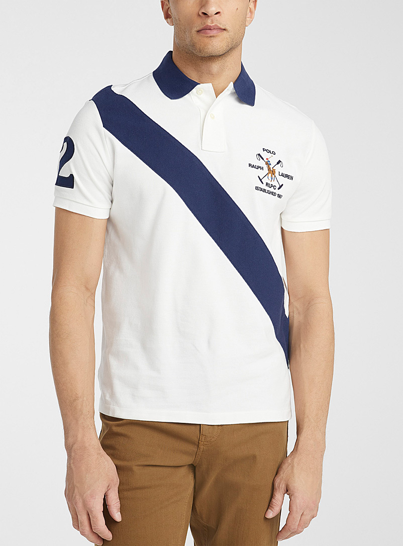 Polo Ralph Lauren White Diagonal-stripe piqué polo for men