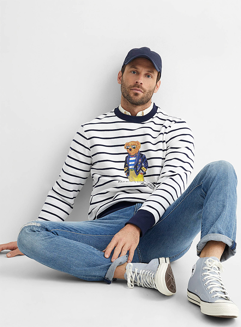 Polo Ralph Lauren Blue Sailor teddy bear stripe sweatshirt for men
