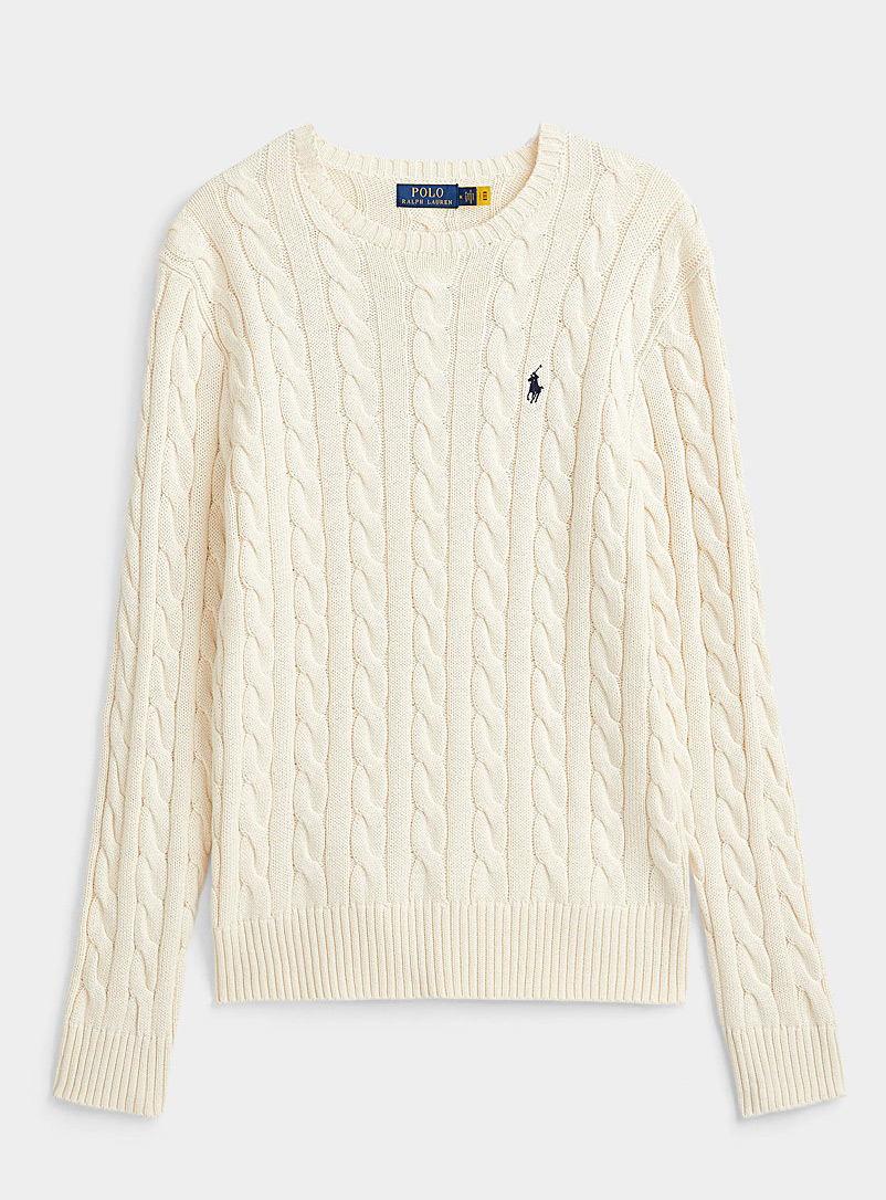 Polo Ralph Lauren Cream Beige Nautical cable sweater for men