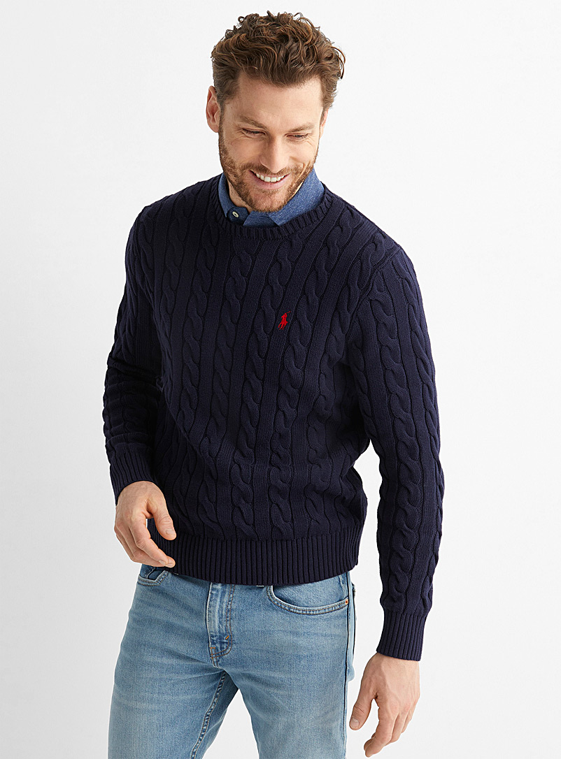 Polo Ralph Lauren Marine Blue Nautical cable sweater for men