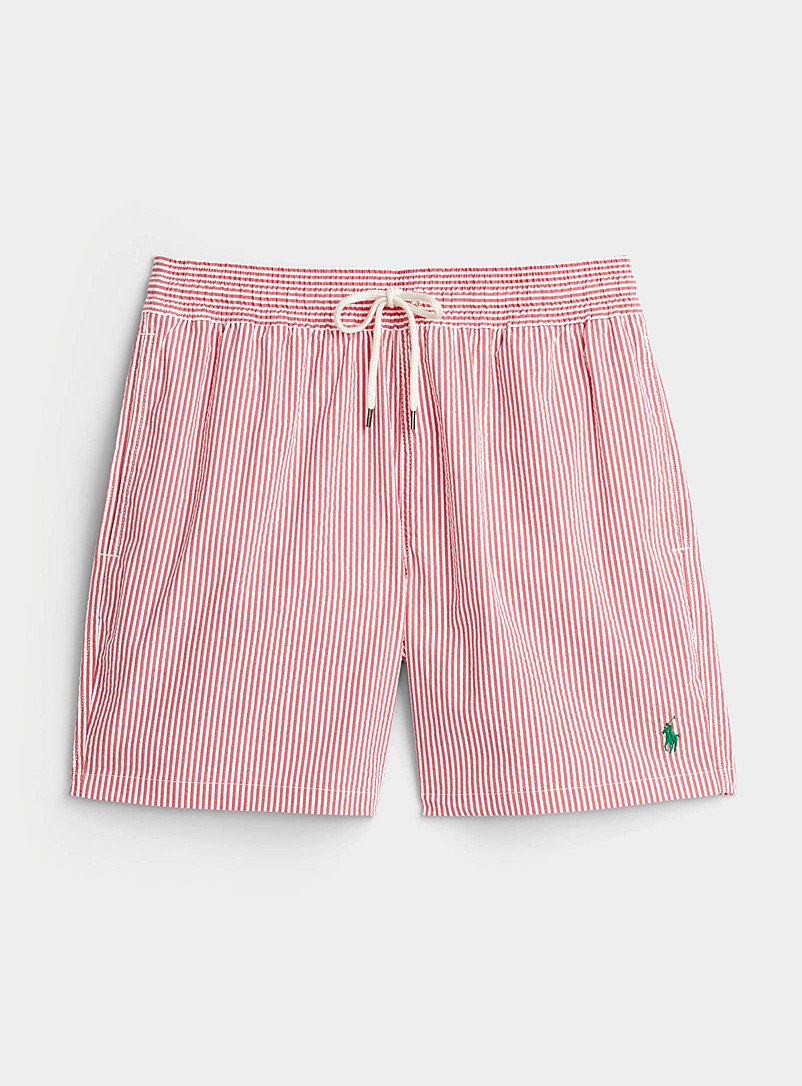 Polo Ralph Lauren Red Seersucker stripe swim short for men
