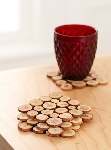 Mini wood slices coasters  Set of 4