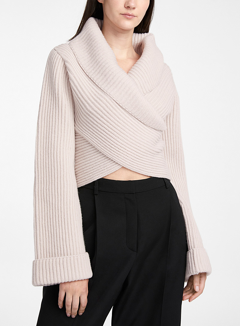 Ribbed-knit crossover sweater
