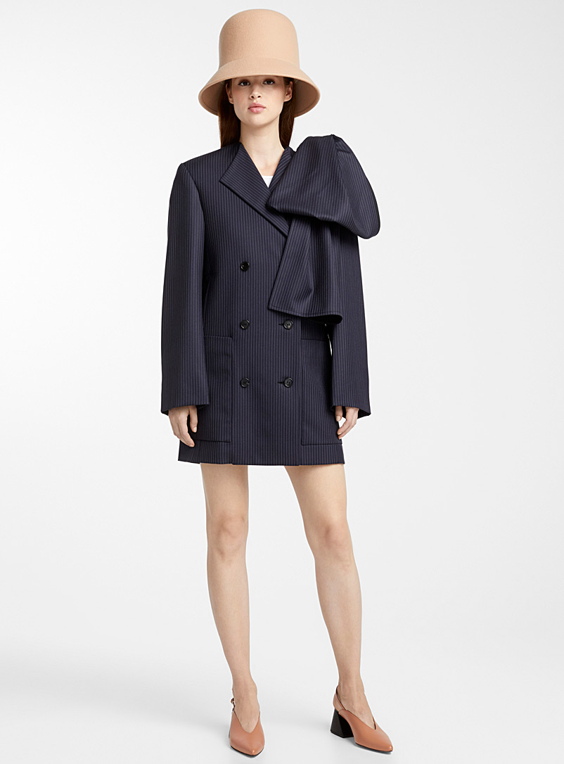 Nina Ricci Marine Blue Tennis-stripe coat dress for women