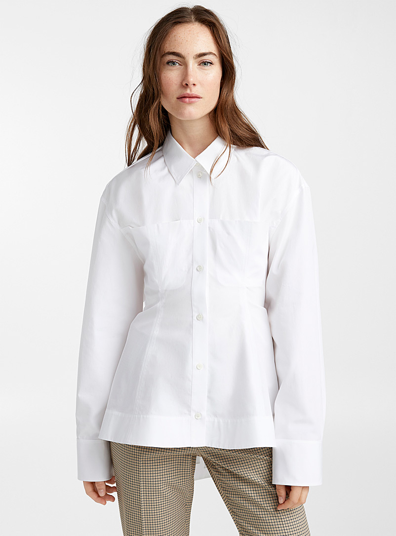 Nina Ricci White Train-style back blouse for women