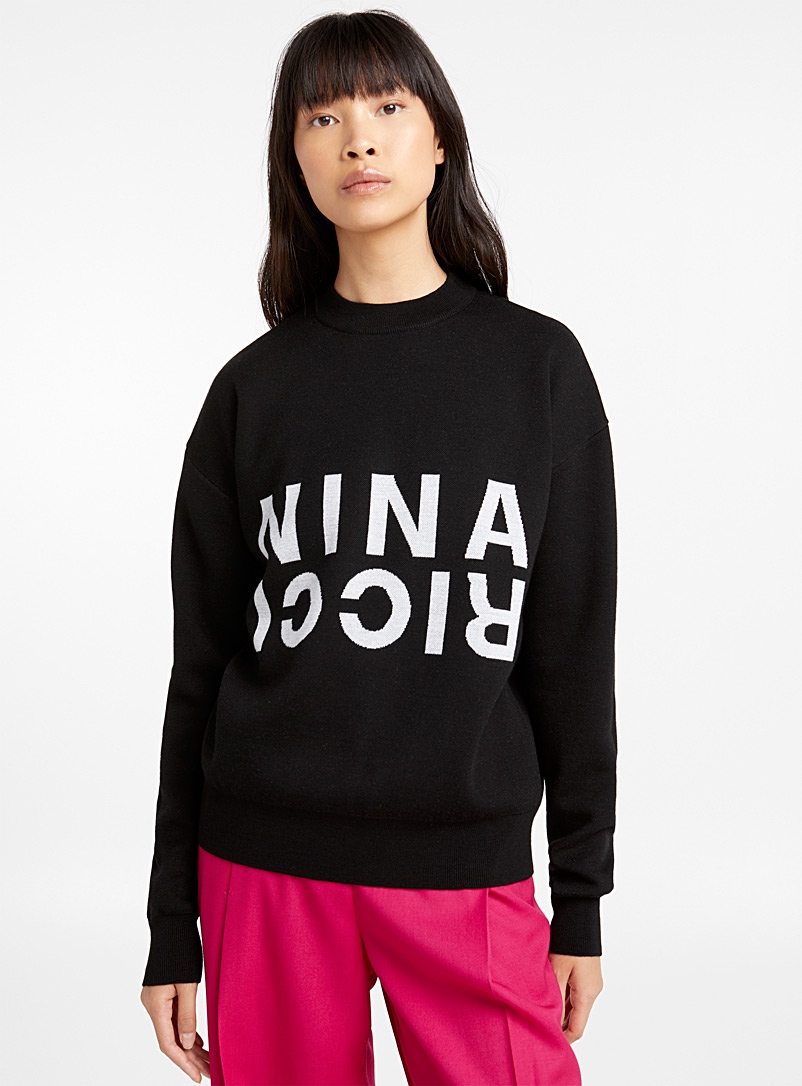 Nina Ricci Black Mirror-like logo sweater for women