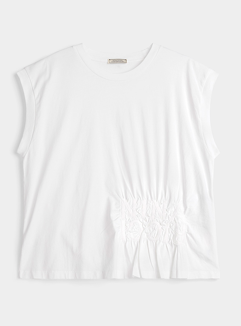 Gathered logo sleeveless T-shirt